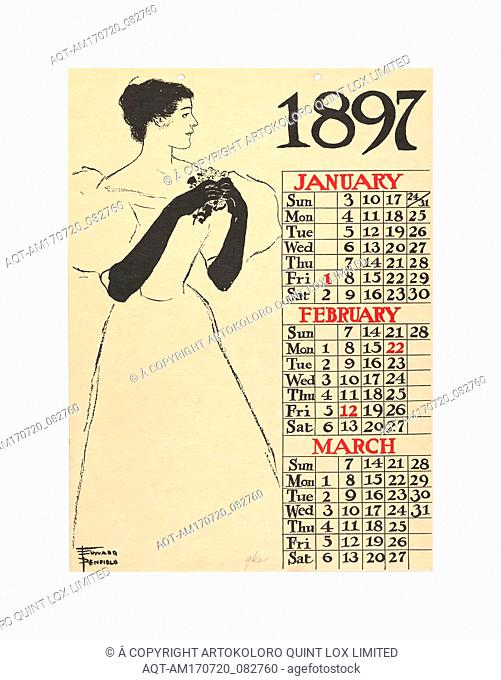 January, February, March, 1897, 1896, Commercial relief process and lithography, Sheet: 14 in. × 10 3/16 in. (35.5 × 25