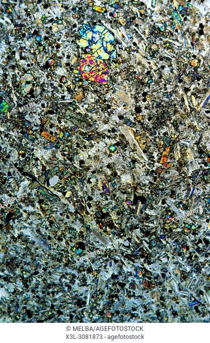 Quartzite. Metamorphic rocks. Tarragona. Spain. Petrographic microscope