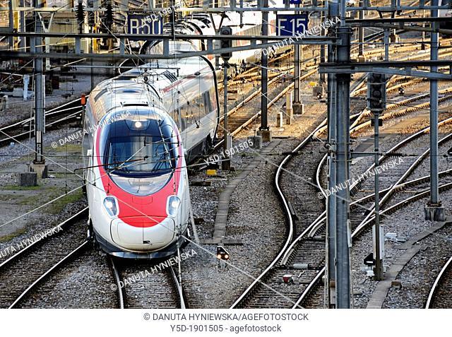 train departing from Cornavin - main railway station in Geneva, Switzerland, Europe