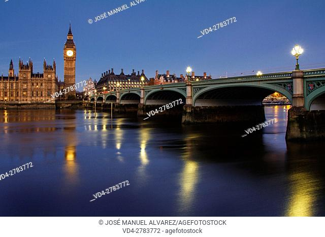 Big Ben, Palace of Westminster, Westminster bridge and thames river. London, United Kingdom
