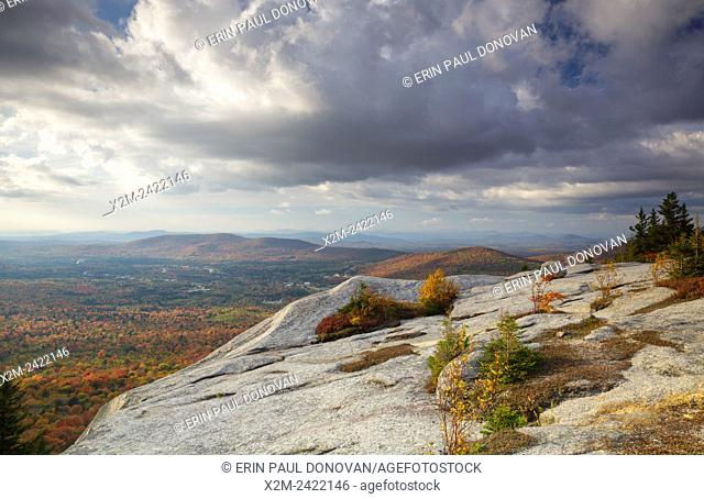 Scenic view from Middle Sugarloaf Mountain in Bethlehem, New Hampshire USA during the autumn months