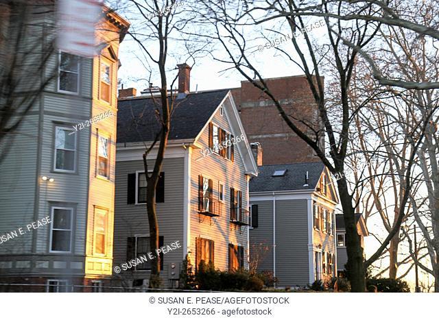 Residential buildings in the sunlight, near Boston, Massachusetts, United States, North america