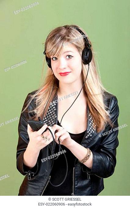 Teen Listens To Music