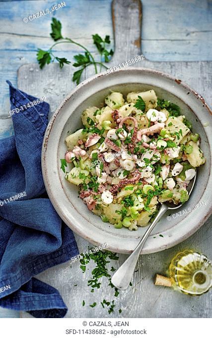 Potato salad with octopus