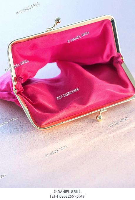 Studio shot of empty pink purse