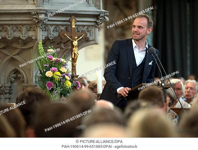 14 June 2019, Saxony, Leipzig: Michael Maul, artistic director of the Bach Festival Leipzig, speaks at the opening of the Bach Festival in the Thomaskirche...