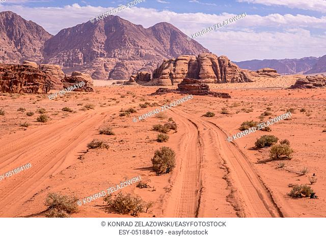 Desert road in Wadi Rum valley also called Valley of the Moon in Jordan