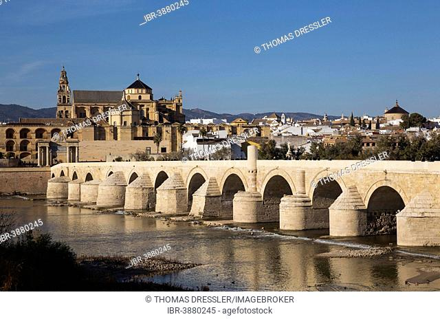 Puente Romano, spanning the Guadalquivir river, and the Mezquita at the back, Córdoba, Córdoba province, Andalusia, Spain