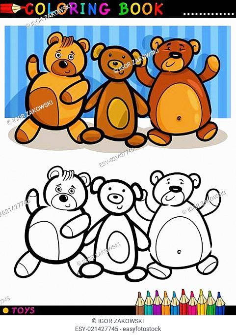 Teddy Bears cartoon for coloring