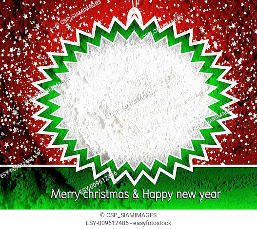 Merry Christmas And Happy New Year card on Cement wall Backgrou