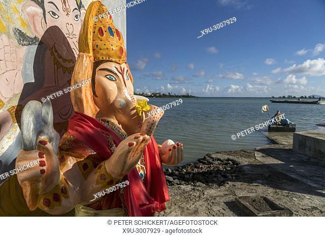 Ganesha statue, Anse La Raie Hindu shrine, Grand Gaube, Mauritius, Africa