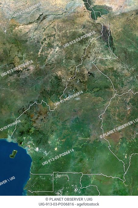 Satellite view of Cameroon (with country boundaries). This image was compiled from data acquired by Landsat satellites