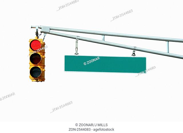 Isolated Red traffic signal light with sign on white