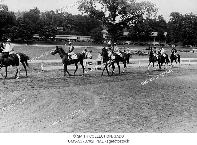 A photograph of race horses being paraded to the starting gate prior to the start of the race, people are gathered in the infield