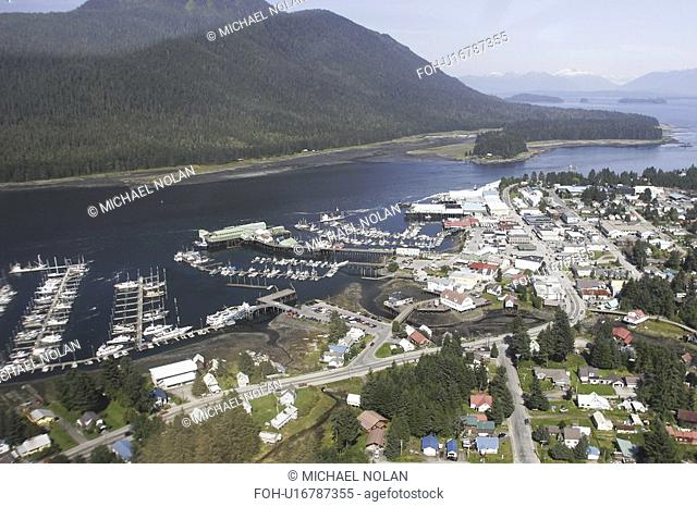 Aerial view of the town of Petersburg, Southeast Alaska, USA