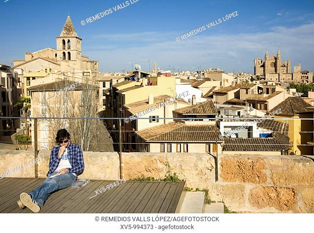 Spain. Balearic Islands. Palma de Mallorca. View of the city from Es Baluard Museum