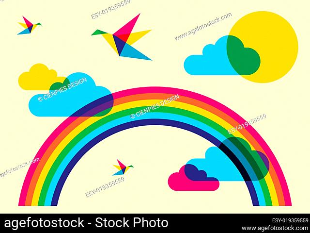 Colorful humming birds and rainbow