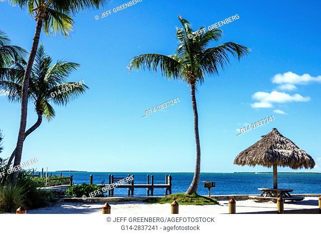 Florida, Upper Florida Keys, Key Largo, Florida Bay, Kona Kai Resort, Gallery and Botanic Gardens, hotel, private beach, dock, scenic view, palm trees