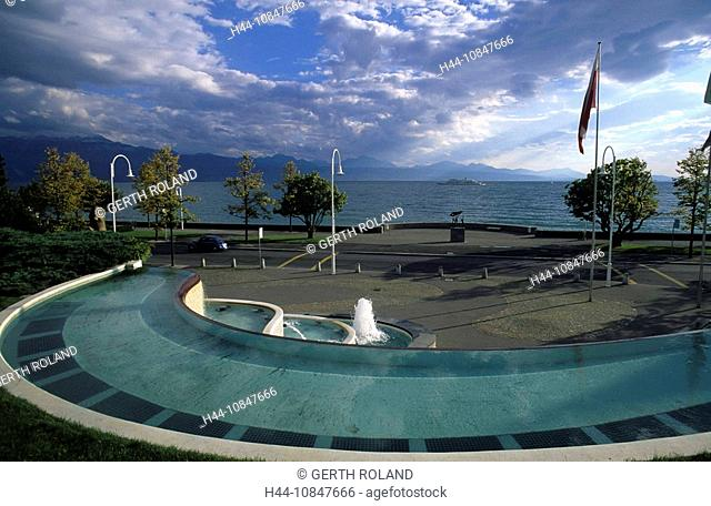 Switzerland, Europe, canton Vaud, Lake Geneva, water, Lausanne, Parc Olympique, fountain, lake, water, ship, flag, sho