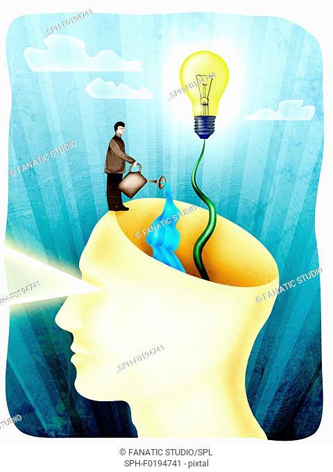 Conceptual illustration of expanding human brain power