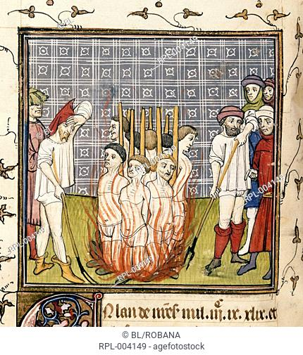 The burning of the Templars. Image taken from Chroniques de France ou de St Denis. Originally published/produced in End of 14th century