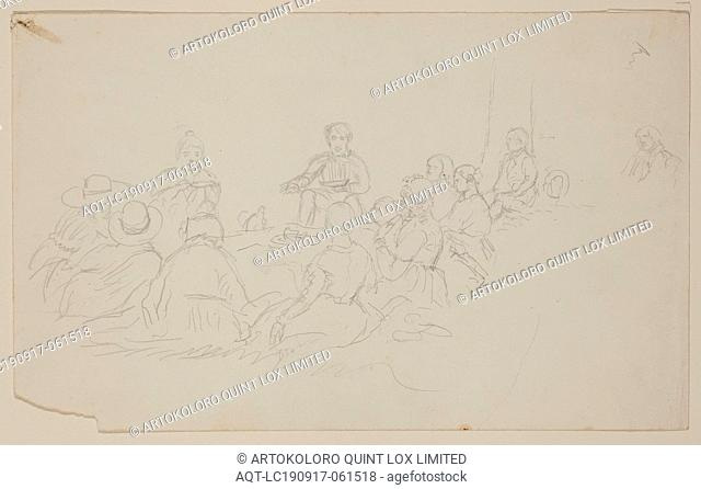 Thomas Cole, American, 1801-1848, (Untitled, Ten People at a Picnic), between 1801 and 1848, graphite pencil on off-white wove paper, Sheet (irreg