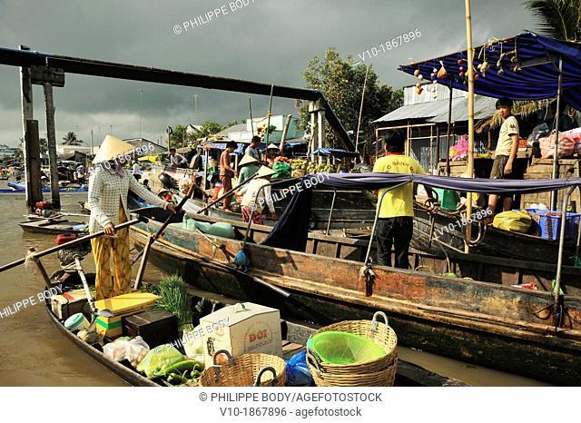 Vietnam, Mekong delta, Soc Trang, floating market