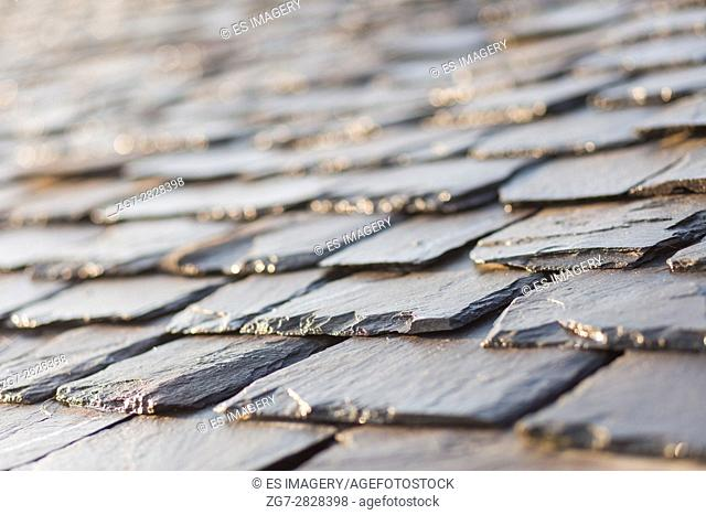 Close up image of traditional slate roof tiles