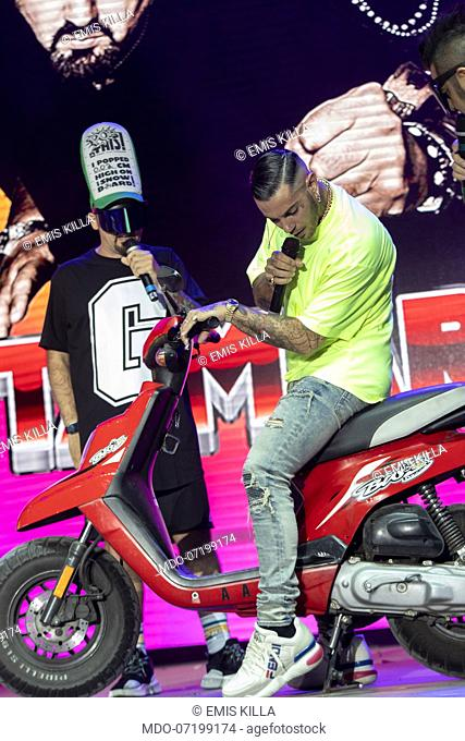 The Italian rapper Emis Killa during the concert for the 20 years of Lo Zoo di 105 at the Hippodrome. Milan (Italy), July 8th, 2019