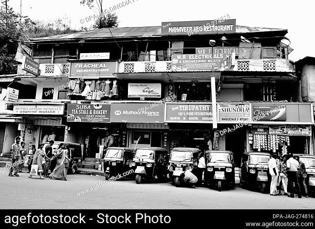Auto taxi stand, Munnar, Idukki, Kerala, India, Asia