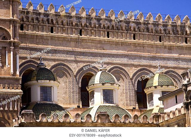 Cathedral of Palermo close-up on the small towers
