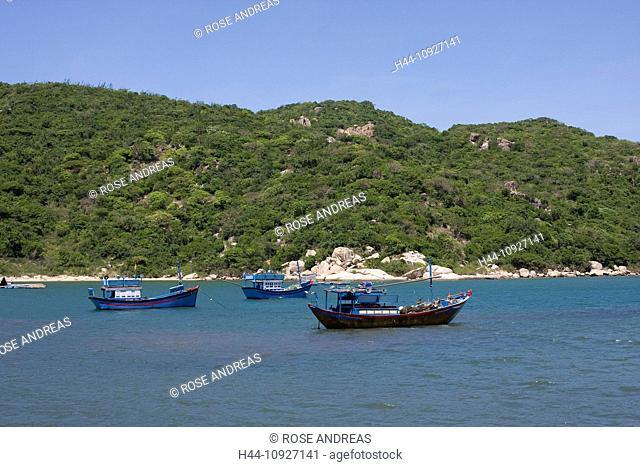 Asia, boats, rocks, cliffs, rock scenery, fisherman, fishing boats, Hy, coast, coastal, scenery, coastal, sceneries, scenery, nature, South-East Asia, Vietnam