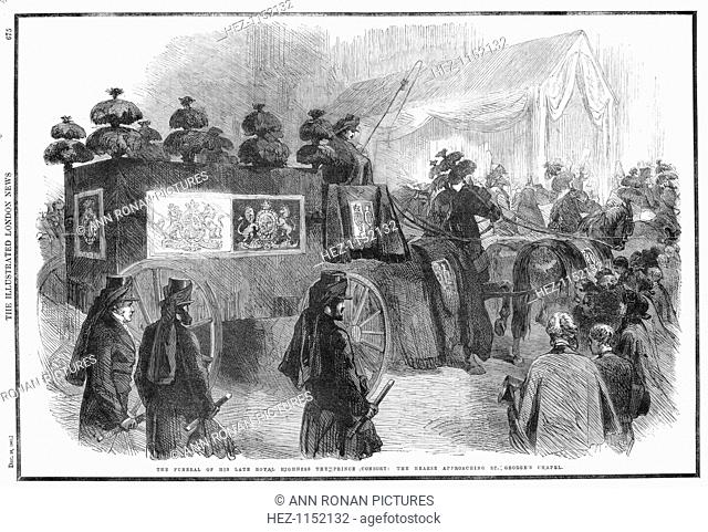 Funeral of Albert, Prince Consort, 1861. The hearse approaching St George's Chapel, Windsor. Prince Albert of Saxe-Coburg-Gotha (1819-1861) married his first...