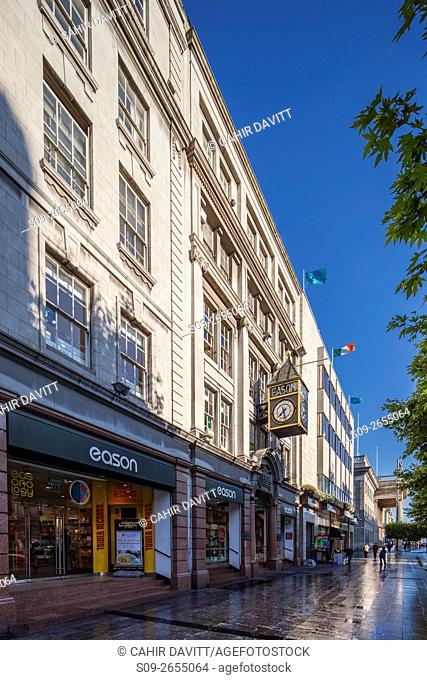 One of Dublin's most famous shops, Easons on O'Connell Street, with the GPO in the background, Dublin, Ireland