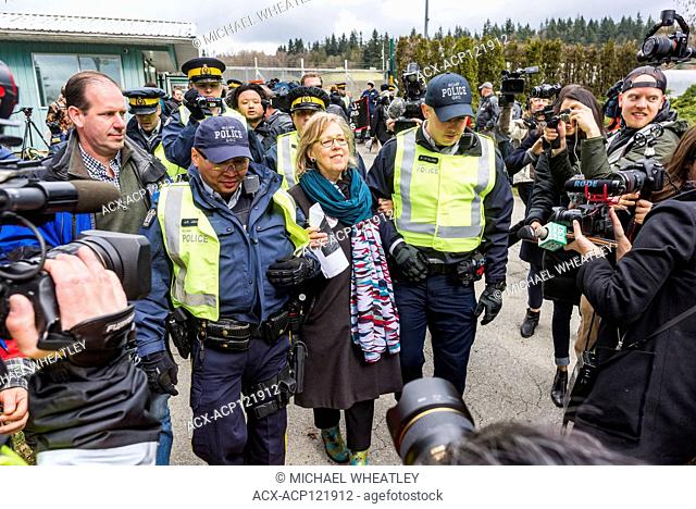 Canadian Green Party leader MP Elizabeth May arrested at Kinder Morgan Pipeline protest, Burnaby, British Columbia, Canada