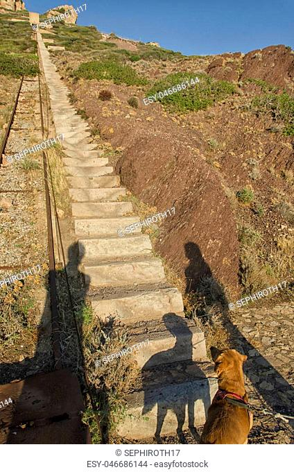 View of endless steps to climbing in Sardinia