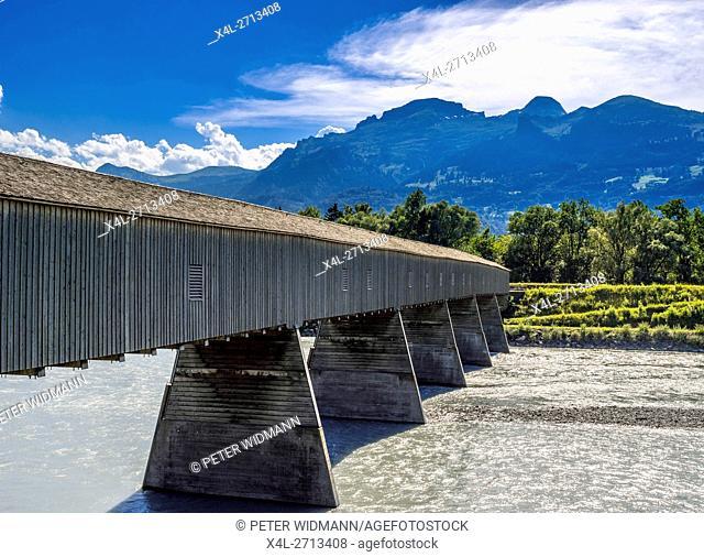 Old Rhine Bridge from Switzerland to Liechtenstein, Vaduz, Liechtenstein, Europe
