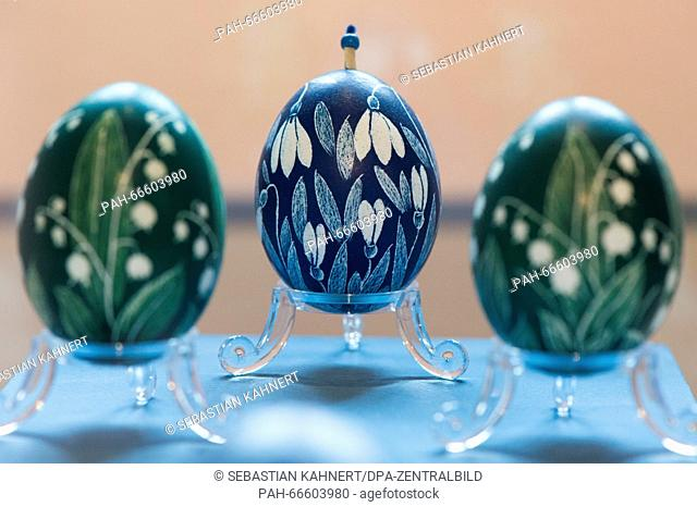Painted eggs can be seen at the exhibition 'Easter at Jaegerhof' at the museum for Saxonian folk art in Dresden, Germany, 11 March 2016