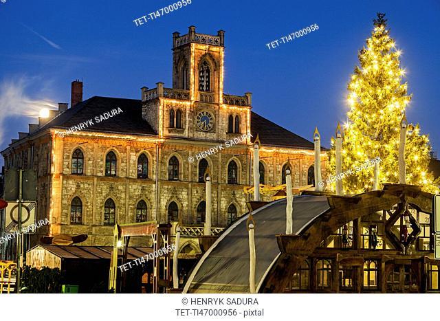 Illuminated Christmas tree and town hall