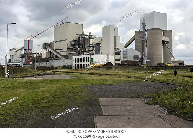 IJmuiden, Netherlands. Huge, heavy steel production plant and industry terrain, producing various kinds of steel inside an CO2 emitting factory