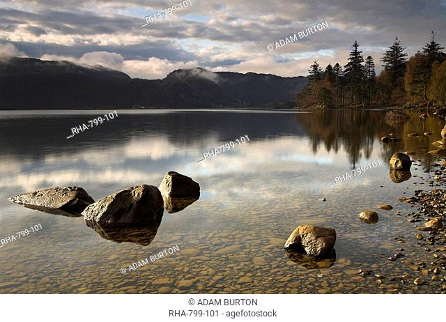 A brief glimpse of morning sunlight at Derwent Water, Lake Diestrict National Park, Cumbria, England, United Kingdom, Europe