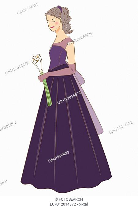 Bride standing and holding wedding arm bouquet made of calla with closed eyes, side view