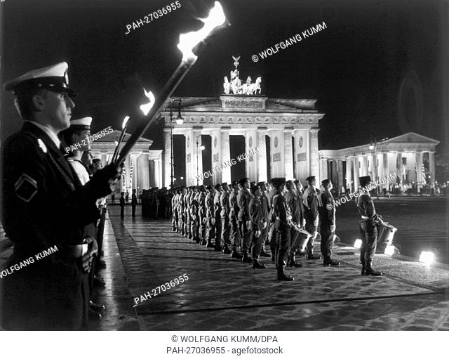 View of Brandenburg Gate in Berlin on the 8th of September in 1994 during the Great Tattoo, the highest ceremonial of the Federal armed forces