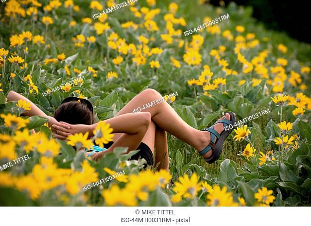 Hikers relaxing in field of flowers