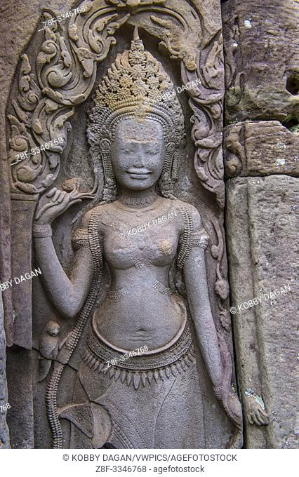 Details at the Angkor Thom in Siem Reap Cambodia