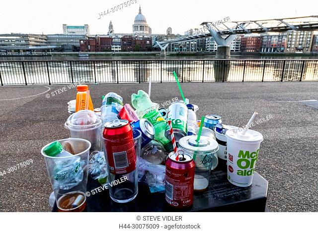 England, London, Southwark, Overflowing Rubbish Bin and St.Paul's Cathedral