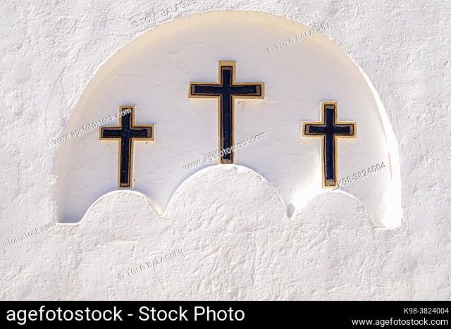 three crosses on the facade, Mare de Déu del Pilar Church, La Mola, Formentera, Pitiusas Islands, Balearic Community, Spain