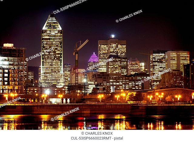 Montreal skyline lit up at night