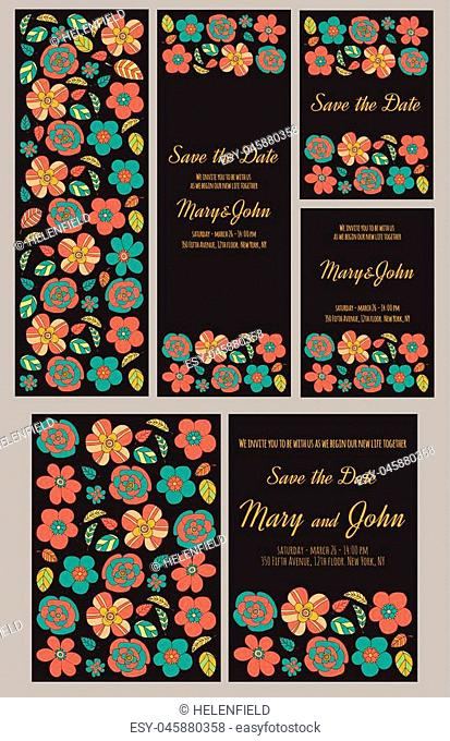 Wedding invitation vector template Hand drawn elements
