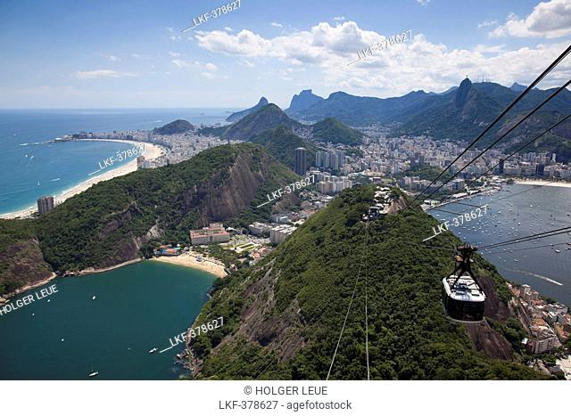 View over city from Pao de Acucar, Sugar Loaf, mountain with Sky Gondola cable car, Rio de Janeiro, Rio de Janeiro, Brazil, South America